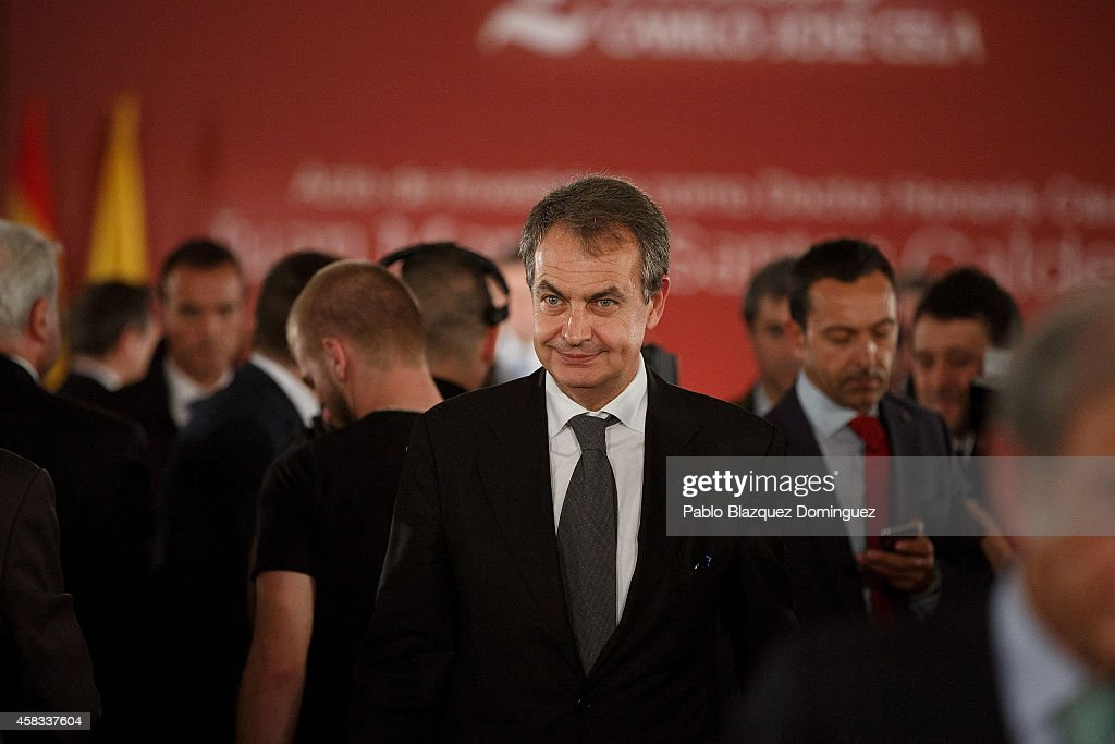 Former Spanish Prime Minister Jose Luis Rodriguez Zapatero attends a ceremony where Colombia's President Juan Manuel Santos receives an Honorary Doctorate at the Camilo Jose Cela university on November 3, 2014 in Villafranca del Castillo, just outside Madrid, Spain. Juan Manuel Santos is on an official visit to Spain which will follow with visits to other European cities.