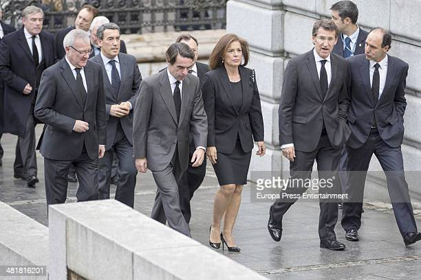 Former Spanish Prime Minister Jose Maria Aznar his wife Madrid's Mayor Ana Botella and Alberto Feijoo arrive for the state funeral ceremony for...