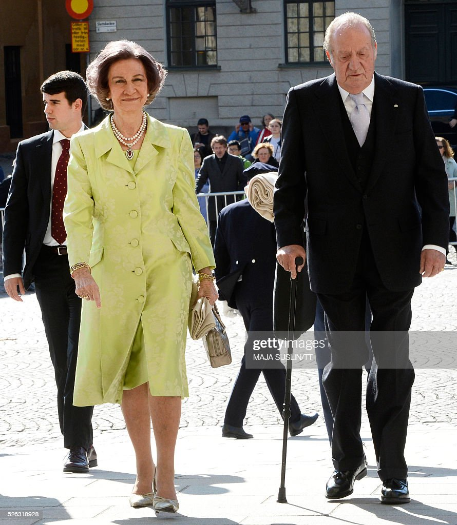 Former Spanish Queen Sofia and King Juan Carlos arrive for for the Te Deum thanksgiving service in the Royal Chapel during King Carl XVI Gustaf of Sweden's 70th birthday celebrations in Stockholm, Sweden, April 30, 2016. News Agency / Maja Suslin/TT / Sweden OUT