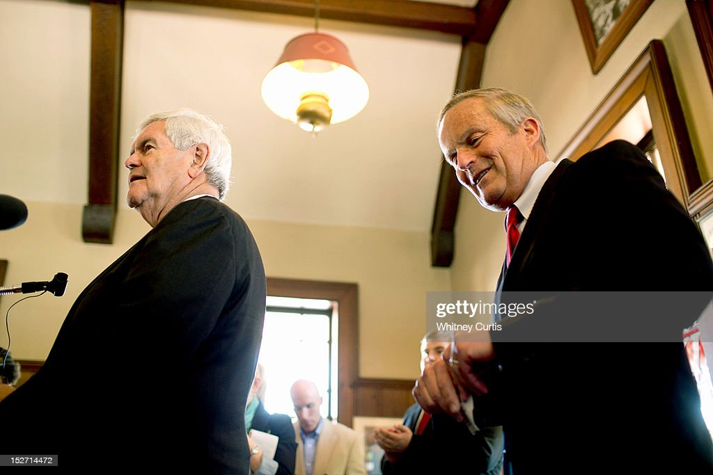 Former Speaker of the House <a gi-track='captionPersonalityLinkClicked' href=/galleries/search?phrase=Newt+Gingrich&family=editorial&specificpeople=202915 ng-click='$event.stopPropagation()'>Newt Gingrich</a> (L) and U.S. Rep. <a gi-track='captionPersonalityLinkClicked' href=/galleries/search?phrase=Todd+Akin&family=editorial&specificpeople=5397424 ng-click='$event.stopPropagation()'>Todd Akin</a> (R-MO) address the media on September 24, 2012 in Kirkwood, Missouri. Gingrich was in the St. Louis area to attend a fundraiser for Akin's U.S. Senate campaign against incumbent Claire McCaskill.