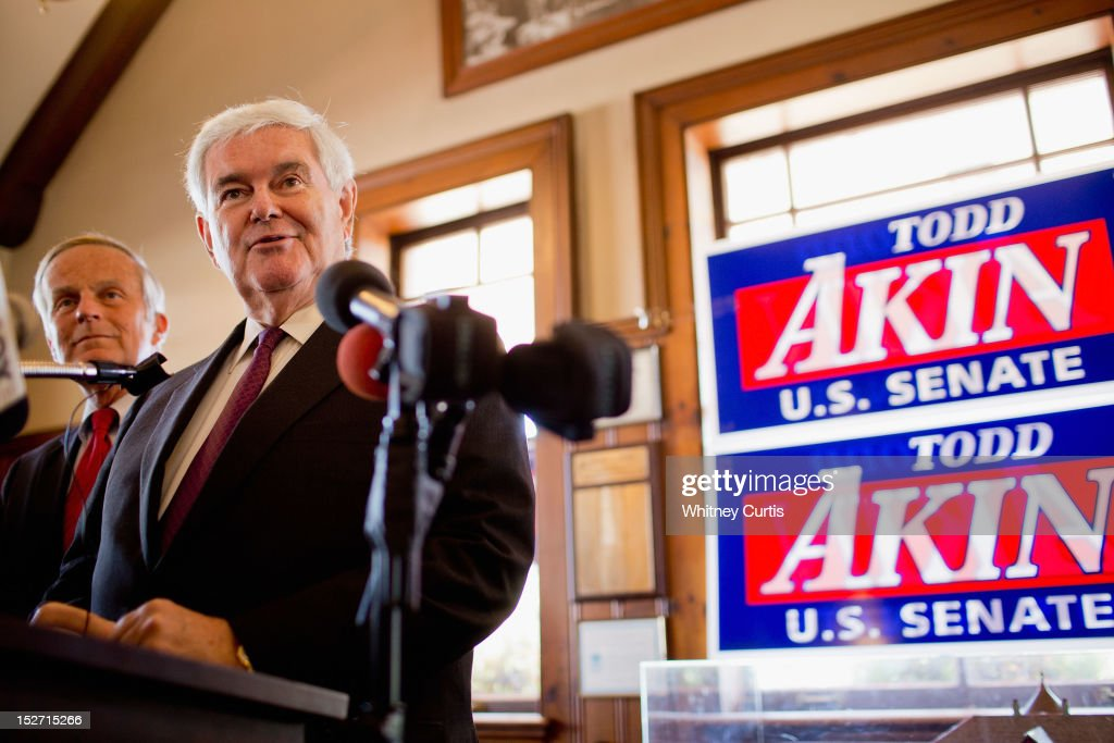 Former Speaker of the House <a gi-track='captionPersonalityLinkClicked' href=/galleries/search?phrase=Newt+Gingrich&family=editorial&specificpeople=202915 ng-click='$event.stopPropagation()'>Newt Gingrich</a> (R) and U.S. Rep. <a gi-track='captionPersonalityLinkClicked' href=/galleries/search?phrase=Todd+Akin&family=editorial&specificpeople=5397424 ng-click='$event.stopPropagation()'>Todd Akin</a> (R-MO) address the media on September 24, 2012 in Kirkwood, Missouri. Gingrich was in the St. Louis area to attend a fundraiser for Akin's U.S. Senate campaign against incumbent Claire McCaskill.