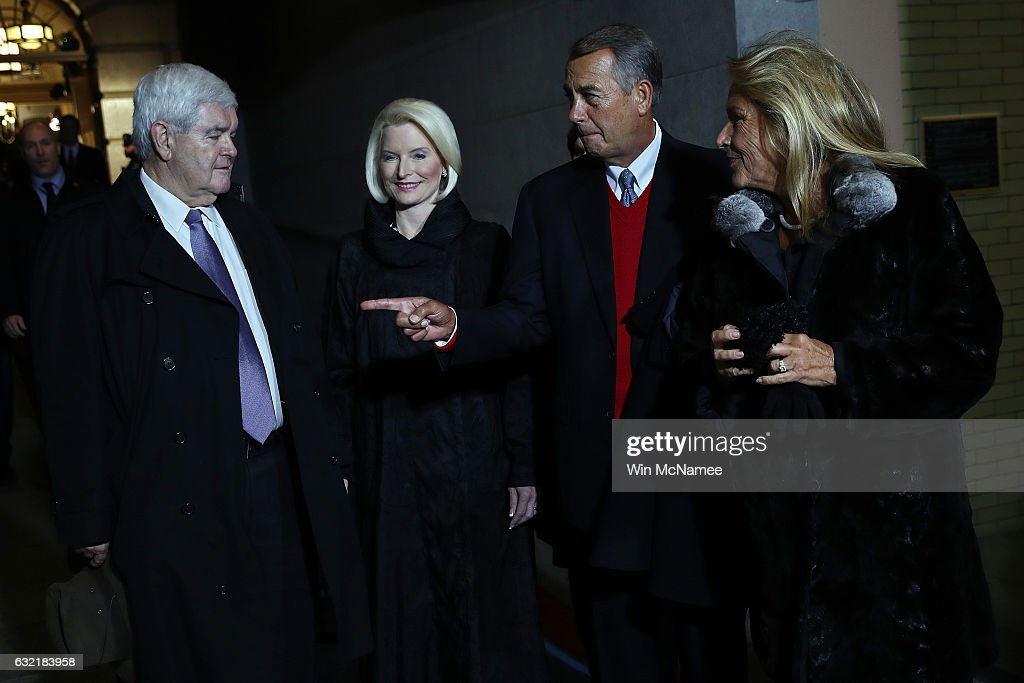 Former Speaker of the House Newt Gingrich, his wife Callista Gingrich, former Speaker of the House John Boehner and his wife Deborah Boehner arrive for the presidential inauguration on the West Front of the U.S. Capitol on January 20, 2017 in Washington, DC. In today's inauguration ceremony Donald J. Trump becomes the 45th president of the United States.