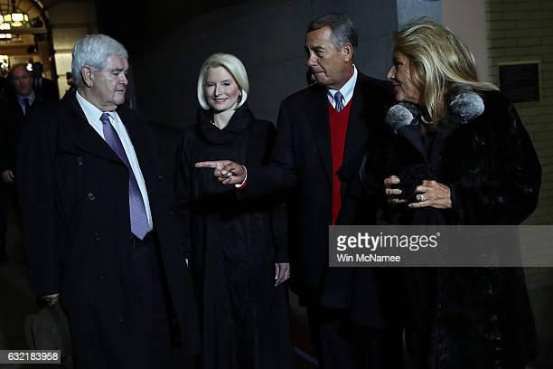 Former Speaker of the House Newt Gingrich his wife Callista Gingrich former Speaker of the House John Boehner and his wife Deborah Boehner arrive for...