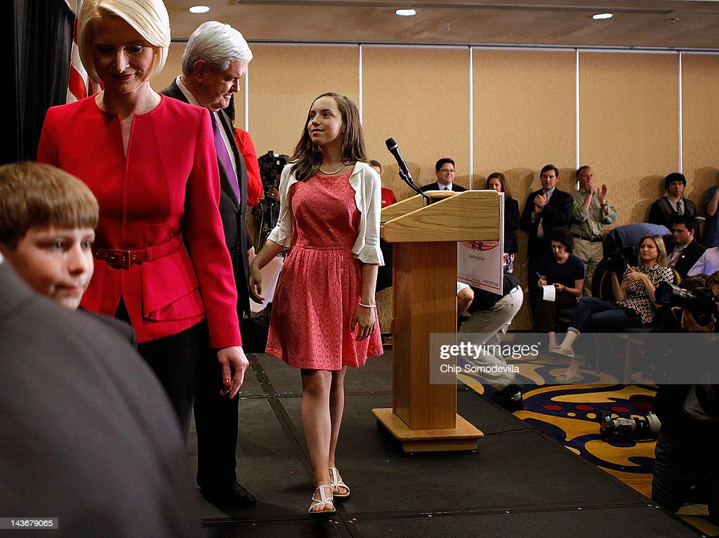 Former Speaker of the House <a gi-track='captionPersonalityLinkClicked' href=/galleries/search?phrase=Newt+Gingrich&family=editorial&specificpeople=202915 ng-click='$event.stopPropagation()'>Newt Gingrich</a> (3rd L) walks off the stage with his granddaughter Maggie Cushman (R), his grandson Robert Cushman and his wife <a gi-track='captionPersonalityLinkClicked' href=/galleries/search?phrase=Callista+Gingrich&family=editorial&specificpeople=4374496 ng-click='$event.stopPropagation()'>Callista Gingrich</a> after he announced he is suspending his campaign for the Republican presidential nomination May 2, 2012 in Arlington, Virginia. Gingrich said he decided to leave the race after his rival, former Massachusetts Gov. Mitt Romney, surged ahead in recent primary elections. Gingrich plans to campaign for his former rival with an official endorsement to come in the next few weeks.