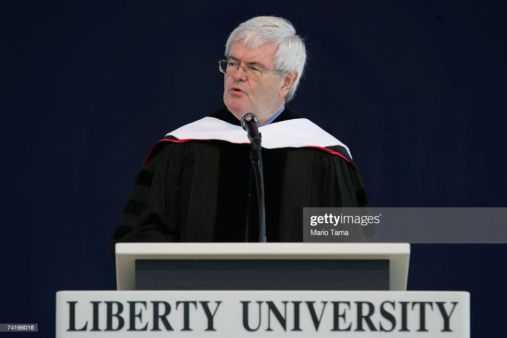 Former Speaker of the House of Representatives Newt Gingrich delivers the Liberty University commencement address during the school's 34th...