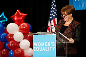 Former Speaker of the New York City Council Christine Quinn announces the agenda during a 'Women for Cuomo' campaign event on October 23 2014 at the...