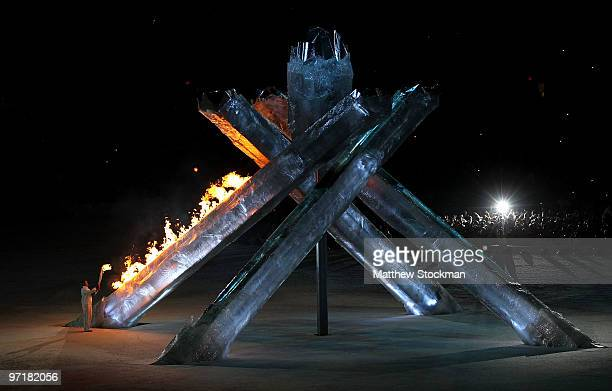 Former speed skater Catriona LeMay Doan lights the Olympic cauldron during the Closing Ceremony of the Vancouver 2010 Winter Olympics at BC Place on...