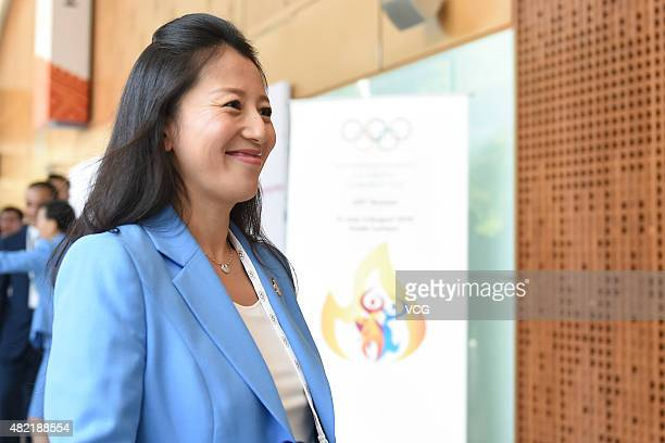Former speed skater Yang Yang of China arrives at the Kuala Lumpur Convention Centre prior to the 128th IOC Session on July 28 2015 in Kuala Lumpur...