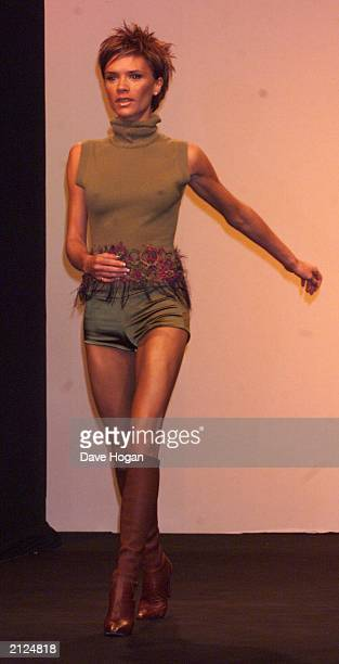 Former Spice Girl Victoria Beckham makes her catwalk debut for Maria Grachvogel at London Fashion Week at the Natural History Museum South Kensington...