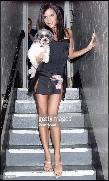 Former Spice Girl Victoria Beckham poses backstage at GAY night at the Astoria in London on August 5 2000 The singer performed with 'True Steppers...