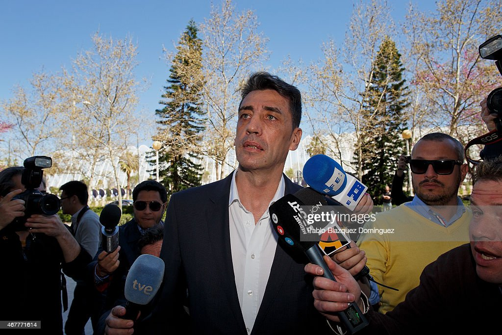 Former sport director of Real Zaragoza Antonio Prieto arrive at court at the City of Justice as he is investigated with another 41 people in a...