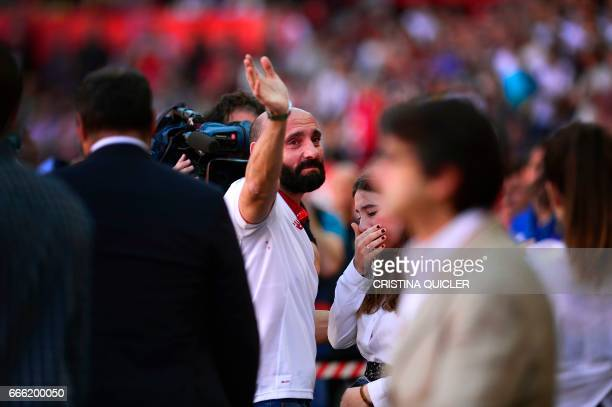Former sporting director of Sevilla Ramon Rodriguez Berdejo 'Monchi' bids goodbye to club supporters before the Spanish league football match Sevilla...