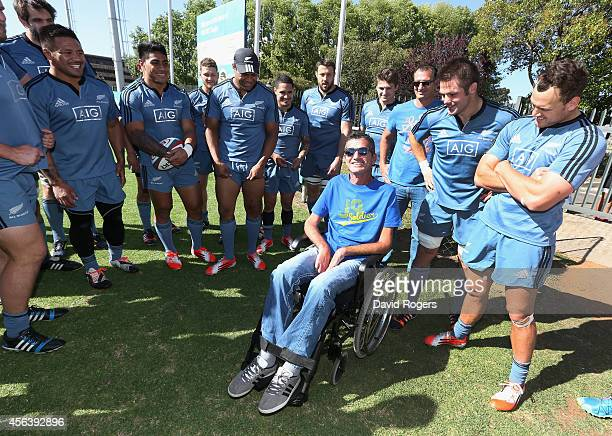 Former Springbok Joost van der Westhuizen who now suffers with motor neurone disease meets All Blacks players after the All Blacks training session...