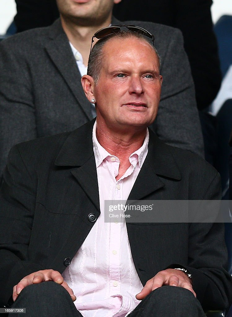 Former Spurs and England player <a gi-track='captionPersonalityLinkClicked' href=/galleries/search?phrase=Paul+Gascoigne&family=editorial&specificpeople=211121 ng-click='$event.stopPropagation()'>Paul Gascoigne</a> looks on during the Barclays Premier League match between Tottenham Hotspur and Everton at White Hart Lane on April 7, 2013 in London, England.