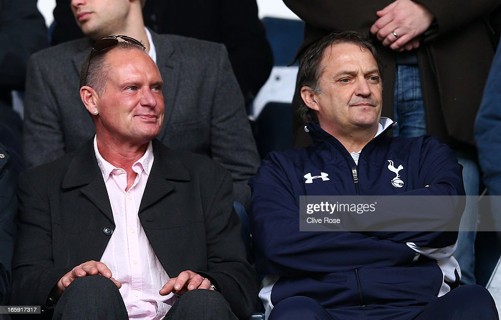 Former Spurs and England players Paul Gascoigne and Gary Mabbutt look on during the Barclays Premier League match between Tottenham Hotspur and Everton at White Hart Lane on April 7, 2013 in London, England.