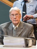 Former SS officer Reinhold Hanning sits at a court in Detmold western Germany on June 17 during the last day of his trial in what is expected to be...