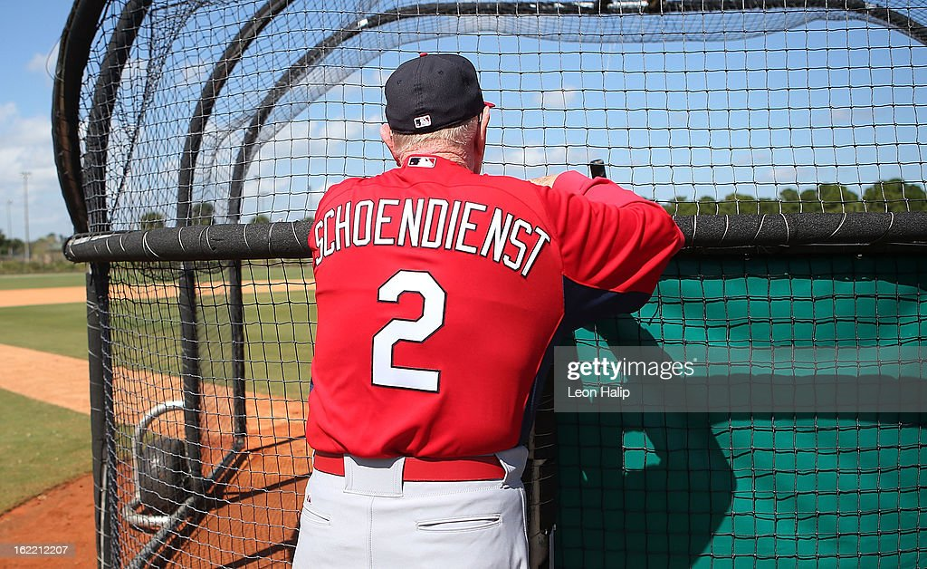Former St. Louis Cardinals player Fred 'Red' Schoendienst watches batting practice during spring training on February 20, 2013 in Jupiter, Florida.