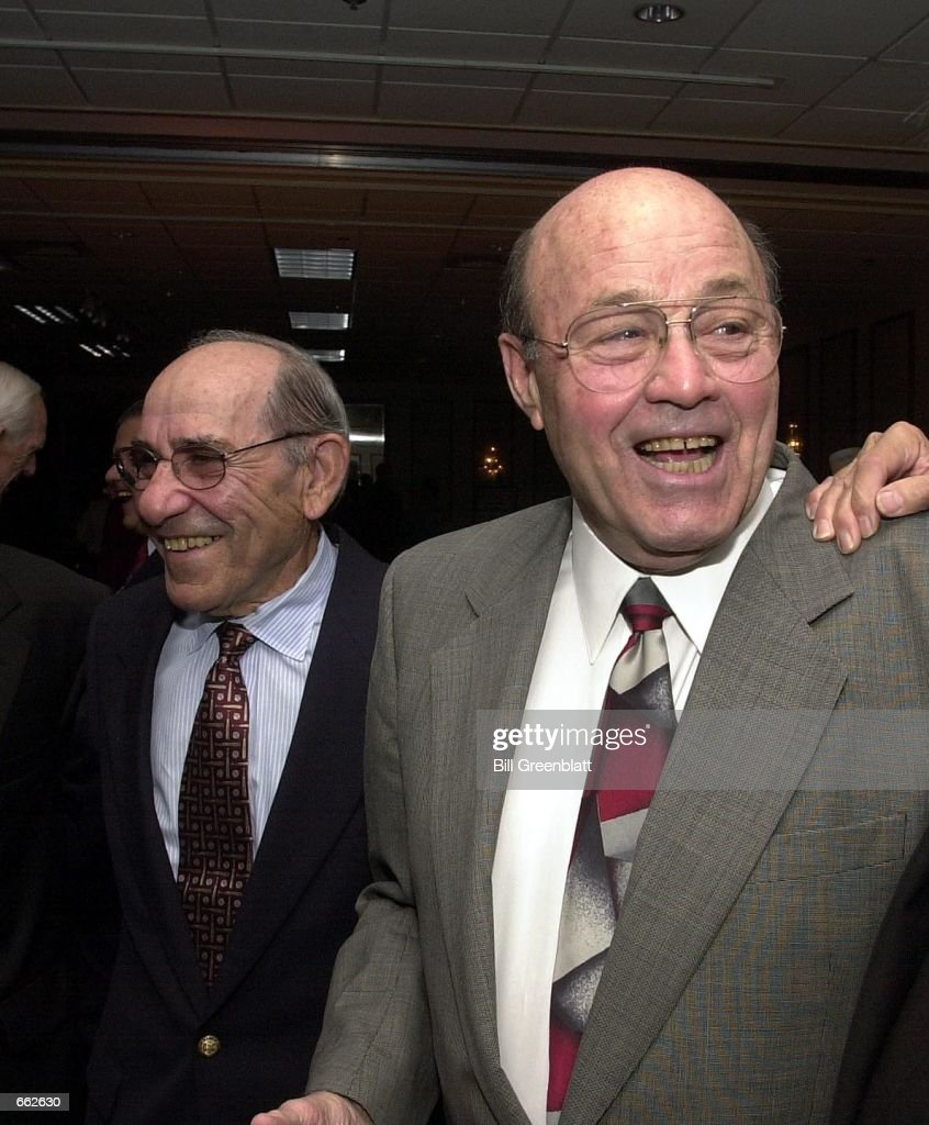 Former St. Louisians Joe Garagiola, right, and <a gi-track='captionPersonalityLinkClicked' href=/galleries/search?phrase=Yogi+Berra&family=editorial&specificpeople=94270 ng-click='$event.stopPropagation()'>Yogi Berra</a> share good times with friends during the St. Louis chapter of the American Federation of Television and Radio Artists (AFTRA) awards dinner, September 26, 2000 in St. Louis, MO. Garagiola was given the Jack Buck Beacon of Excellence Award.