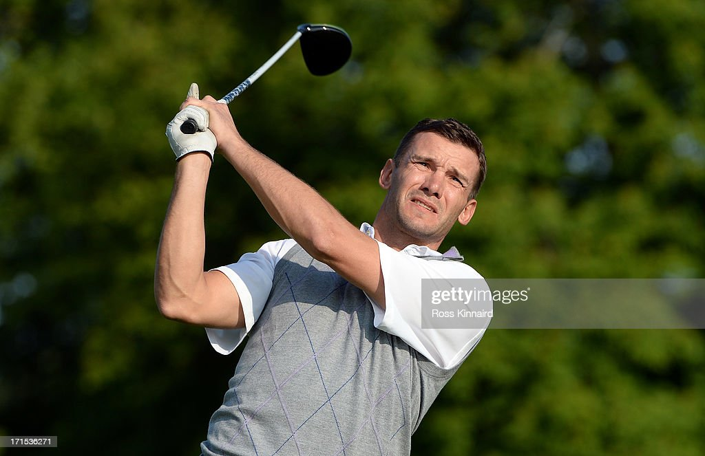 Former star footballer <a gi-track='captionPersonalityLinkClicked' href=/galleries/search?phrase=Andriy+Shevchenko&family=editorial&specificpeople=220501 ng-click='$event.stopPropagation()'>Andriy Shevchenko</a> during the pro-am event prior to the Irish Open at Carton House Golf Club on June 26, 2013 in Maynooth, Ireland.