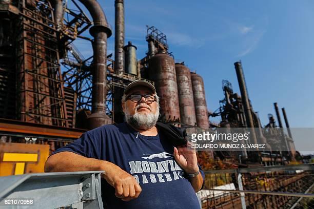 Former steel worker Frank Behum speaks as he visits the former Bethlehem steel factory in Bethlehem Pennsylvania on November 2 2016 In the heart of...