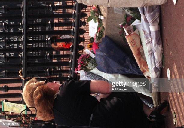 Former stepmother of the Diana Princess of Wales Raine Countess de Chambrun views the floral tributes to Diana as hundreds queue to pay their...