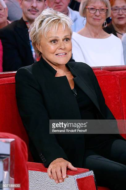Former student of Main Guest of the show Michel Bouquet Humorist Muriel Robin attends the 'Vivement Dimanche' French TV Show at Pavillon Gabriel on...