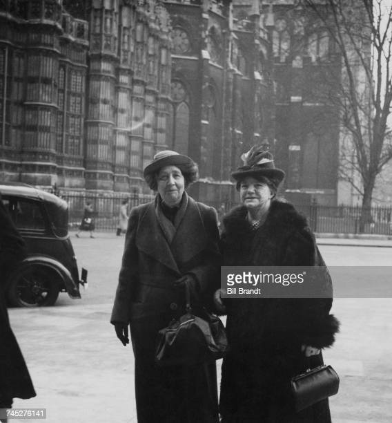 Former suffragettes Sylvia Pankhurst and Mrs Godfrey Hausen arriving at the House of Commons London March 1940 As members of the Women's War...