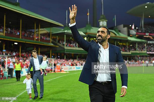 Former Swans player Adam Goodes thanks the crowd during a lap of honour during the round three AFL match between the Sydney Swans and the Greater...