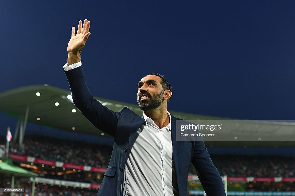 Former Swans player Adam Goodes thanks the crowd during a lap of honour during the round three AFL match between the Sydney Swans and the Greater Western Sydney Giants at Sydney Cricket Ground on April 9, 2016 in Sydney, Australia.