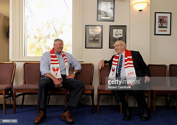 Former Swans players Barry Round and Fred Goldsmith chat during a Sydney Swans AFL Hall Of Fame media session held at The Rising Sun Hotel on June 26...