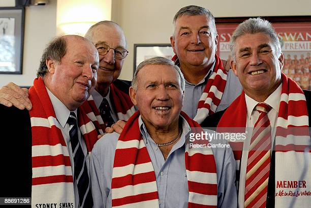 Former Swans players Peter Bedford Fred Goldsmith Barry Round Gerard Healy and Bob Skilton pose for the media during a Sydney Swans AFL Hall Of Fame...