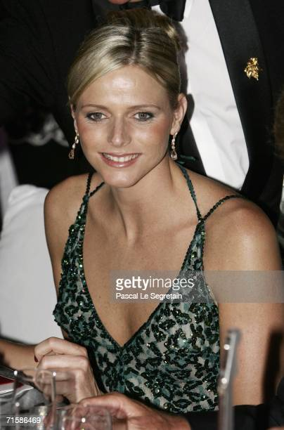 Former swimmer Charlene Wittstock poses at the Monaco Red Cross Ball under the Presidency of HSH Prince Albert II in the Salles des Etoiles at the...