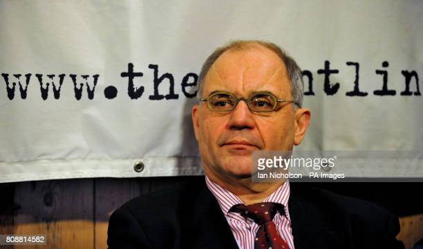 Former Swiss banker and whistleblower Rudolf Elmer addresses the media at the Frontline Club in London prior to handing over two CDs to the WikiLeaks...