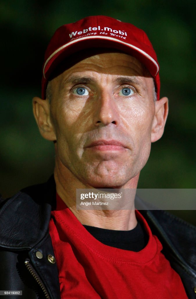 Former Swiss Pilot <a gi-track='captionPersonalityLinkClicked' href=/galleries/search?phrase=Yves+Rossy&family=editorial&specificpeople=4206854 ng-click='$event.stopPropagation()'>Yves Rossy</a> gestures during a press conference after failing in his attempt to fly solo from Morocco to Spain using a jet-powered wing on November 25, 2009 Atlanterra near Tarifa, Spain. Former Swiss Jet Fighter pilot <a gi-track='captionPersonalityLinkClicked' href=/galleries/search?phrase=Yves+Rossy&family=editorial&specificpeople=4206854 ng-click='$event.stopPropagation()'>Yves Rossy</a> failed to complete his intercontinental flight from Morocco to Spain with a jet-powered wing strapped to his back, ditching in the Straits of Gibraltar before being rescued, unhurt, by helicopter.