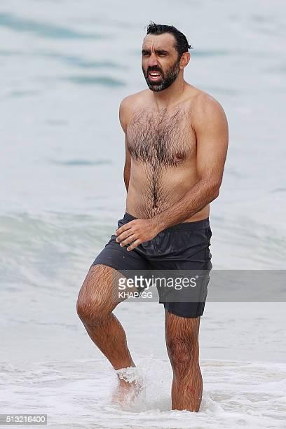 Former Sydney Swans AFL player Adam Goodes enjoys a swim at Bondi Beach on March 1 2016 in Sydney Australia