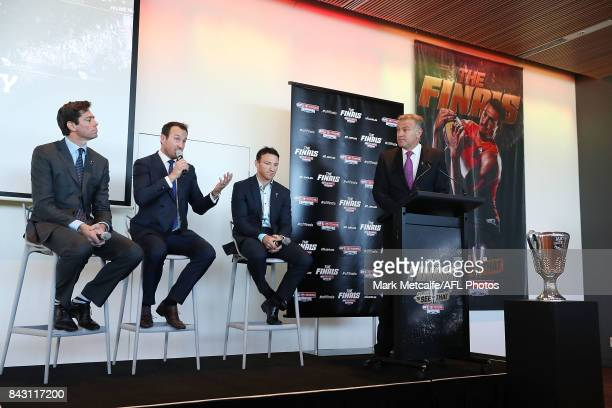 Former Sydney Swans Premiership player Jude Bolton speaks on stage during the AFL Grand Final media announcement at The Museum of Contemporary Art...