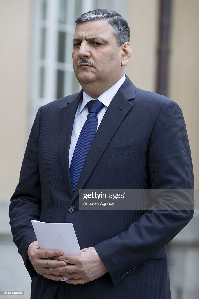 Former Syrian Prime Minister Riyad Farid Hijab attends a press conference at the German foreign ministry's guest house Villa Borsig in Berlin, Germany on May 04, 2016.