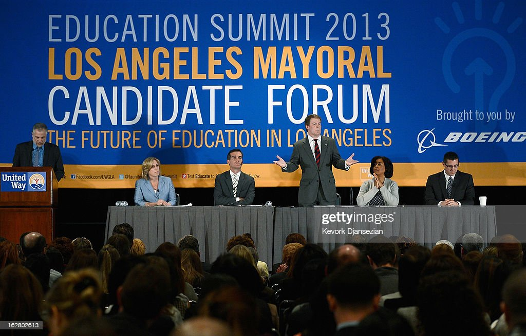 Former talk show host and prosecutor Kevin James (C), a candidate seeking to succeed Los Angeles Mayor Antonio Villaraigosa, speaks during a panel discussion on improving schools with fellow mayoral candidates during the United Way of Greater Los Angeles' Education Summit at the Los Angeles Convention Center on February 27, 2013 in Los Angeles, California. The five leading candidates discuss teacher evaluations, school choice, budget cuts, the relationship between the Los Angeles Unified School District and United Teachers Los Angeles and the union representing the district's teachers.