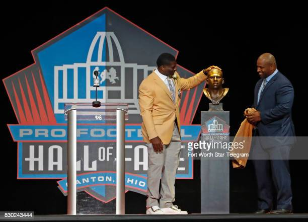 Former TCU Horned Frog and now NFL Hall of Fame member LaDainian Tomlinson unveils his HOF bust with Lorenzo Neal The 2017 NFL Hall of Fame class...