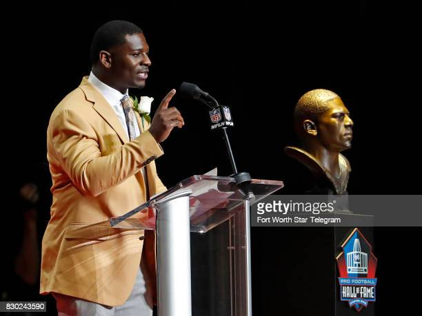 Former TCU Horned Frog and now NFL Hall of Fame member LaDainian Tomlinson during his acceptance speech The 2017 NFL Hall of Fame class including...