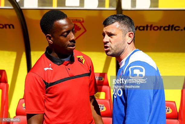 Former team mates Lloyd Doyley of Watford and Paul Robinson of Birmingham chat before the Sky Bet Championship match between Watford and Birmingham...