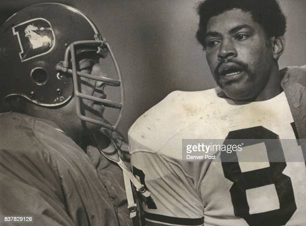 Former teammates Rich Jackson now of Cleveland and Fred Forsberg of Denver talk after DenverCleveland game in Denver Jackson a longtime Bronco came...