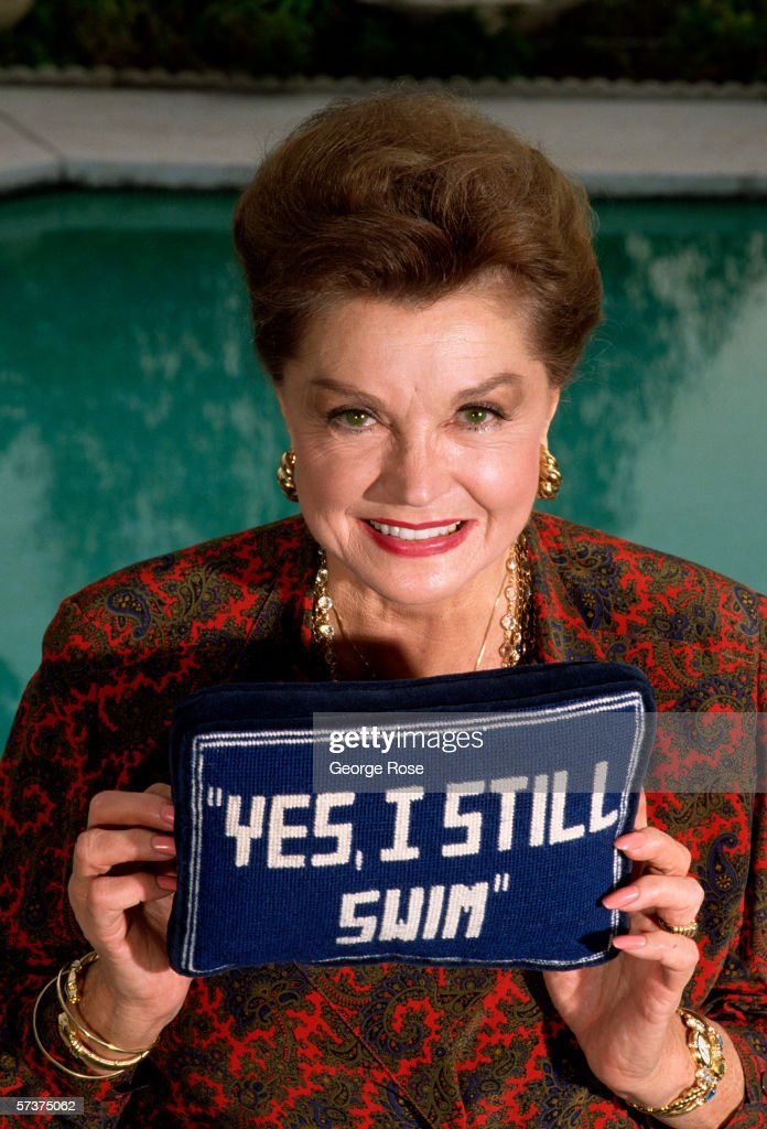 Former teenage swimming star-turned actress, <a gi-track='captionPersonalityLinkClicked' href=/galleries/search?phrase=Esther+Williams&family=editorial&specificpeople=123838 ng-click='$event.stopPropagation()'>Esther Williams</a> poses for a portrait during a 1989 Beverly Hills, California photo session. Williams, once married to Fernando Lamas, was often featured swimming her way through 1940s film musicals.