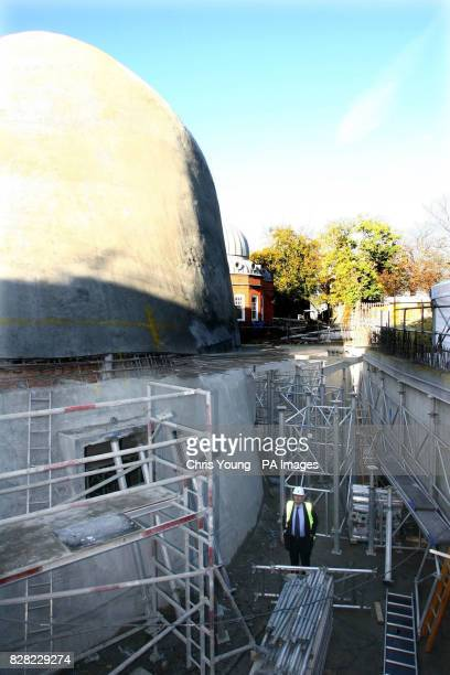 Former Television presenter Peter Snow who has been in charge of fund raising visits the site of the new planetarium at the Royal Observatory in...