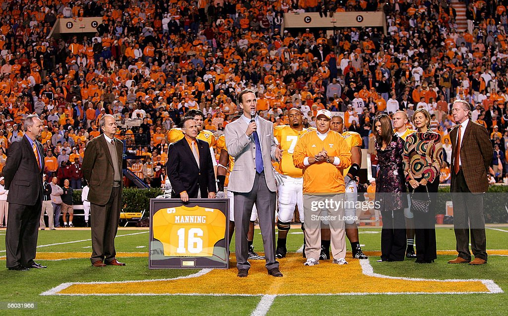 Former Tennesse quarterback and current quarterback for the Indianapolis Colts Peyton Manning is honored before the start of their game against the...