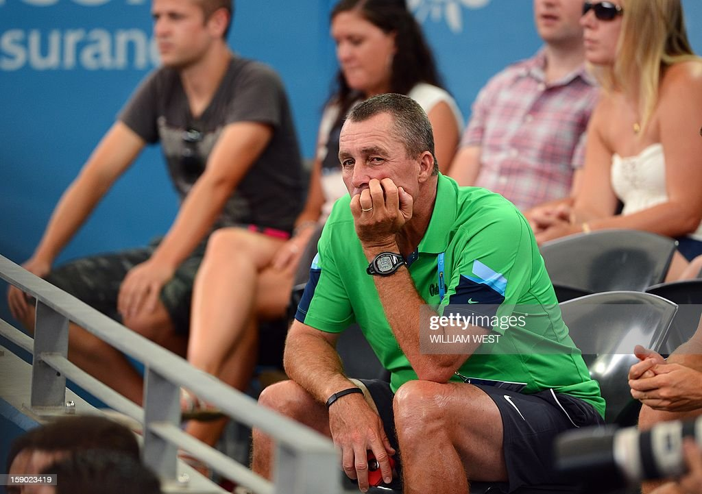 Former tennis great Ivan Lendl watches his charge Andy Murray of Britain defeat Grigor Dimitrov of Bulgaria in the final of the Brisbane International tennis tournament on January 6, 2013. AFP PHOTO/William WEST USE