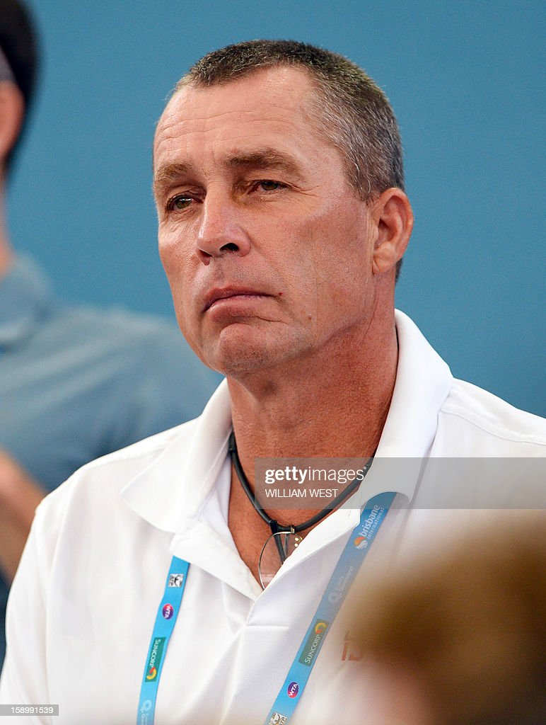 Former tennis legend and now coach, Ivan Lendl, watches his charge Andy Murray of Britain, in action against Kei Nishikori of Japan in the semi-finals of the Brisbane International tennis tournament on January 5, 2013. AFP PHOTO/William WEST USE