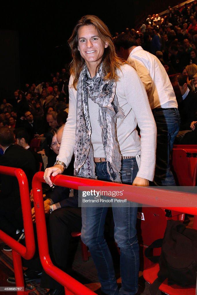 Former Tennis player Amelie Mauresmo attending Celine Dion's Concert at Palais Omnisports de Bercy on December 5, 2013 in Paris, France.