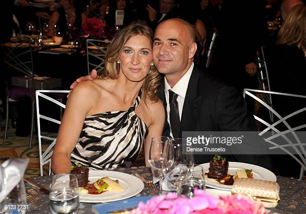 Former tennis player Andre Agassi and former tennis player Stefanie in the audience at the 14th annual Andre Agassi Foundation for Education's Grand...