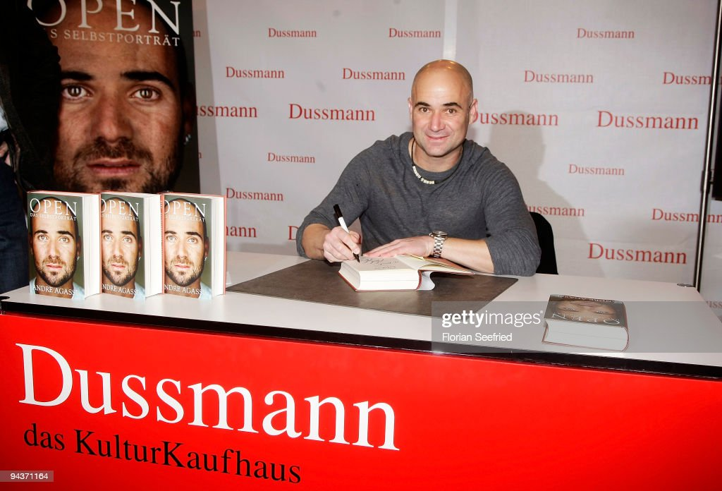 Former tennis player <a gi-track='captionPersonalityLinkClicked' href=/galleries/search?phrase=Andre+Agassi&family=editorial&specificpeople=157607 ng-click='$event.stopPropagation()'>Andre Agassi</a> poses at the signing of his new book 'Open: An Autobiography' at KulturBuehne at the Sphinx on December 13, 2009 in Berlin, Germany.